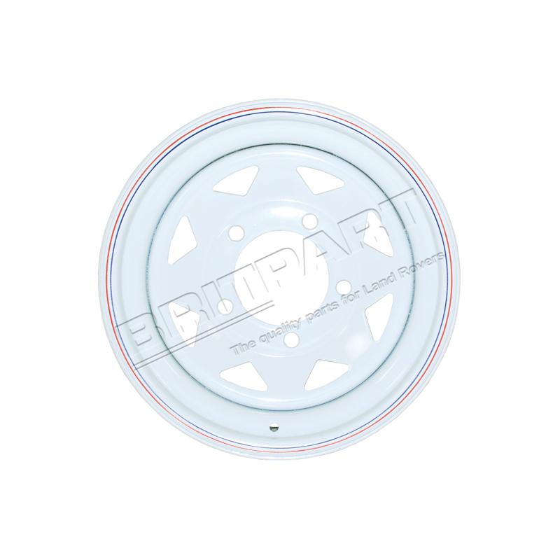 WHITE 8 SPOKE STEEL WHEEL 7X16
