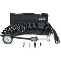 5-in-1 Deflator/Inflator, 25 Ft. Inside Braided Coil Hose, 60 PSI Inline Gauge, Bag